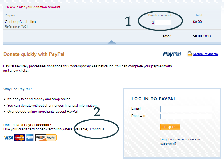 PayPal contribution screen